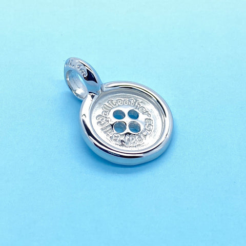 BWL Button Charm with Rhodium Plating