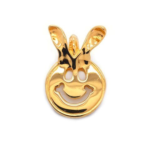 Happy Face Charm with Bunny Ears 18k Yellow Gold Plated
