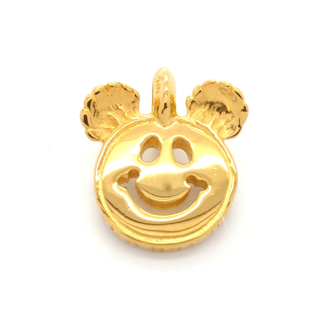 Happy Face Charm with Bear Ears 18k Yellow Gold Plated
