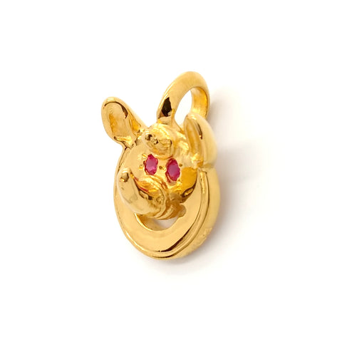 Happy Face Charm -Rhino with Rubies