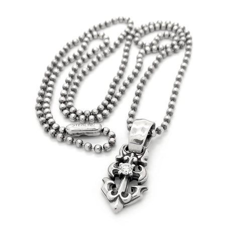 Anchor Charm with Stone and Ball Chain