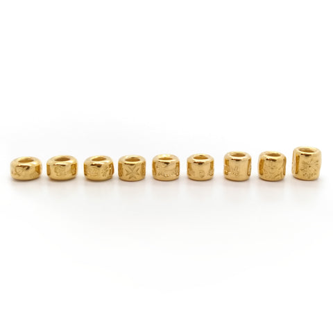 3mm Small Bead Set (9 piece) 18k Yellow Gold Plated