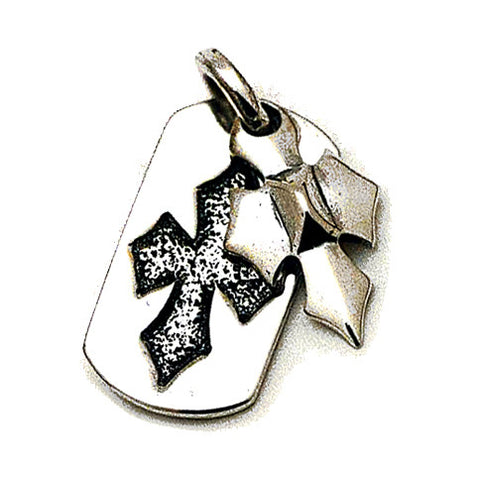 Embossed C Cross with C Charm Dog Tag