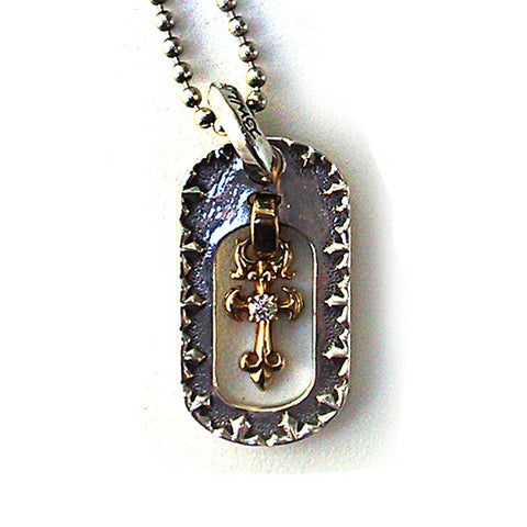 18k Sailor Cross Dog Tag with Diamond