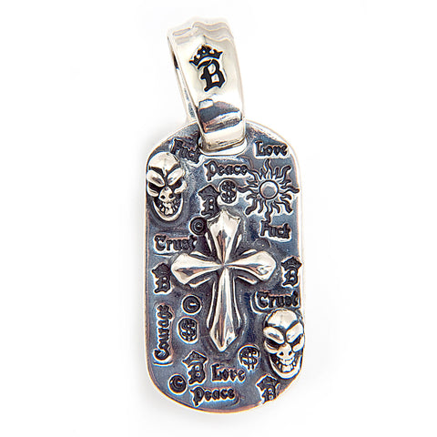 Graffiti Dog Tag with 2005 Cross, 2 Skulls and Large Bail