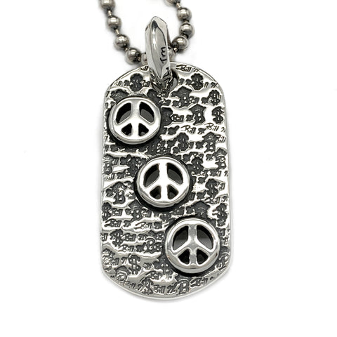 Graffiti Dog Tag with Peace Signs and Ball Chain