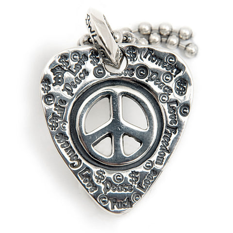 Graffiti Pick Dog Tag with Peace Signs and Ball Chain