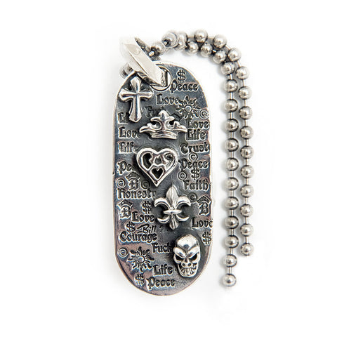 Oval Graffiti with 5 Charms Dog Tag and Ball Chain
