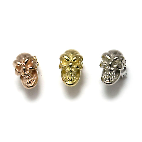18k Gold Skull Earrings