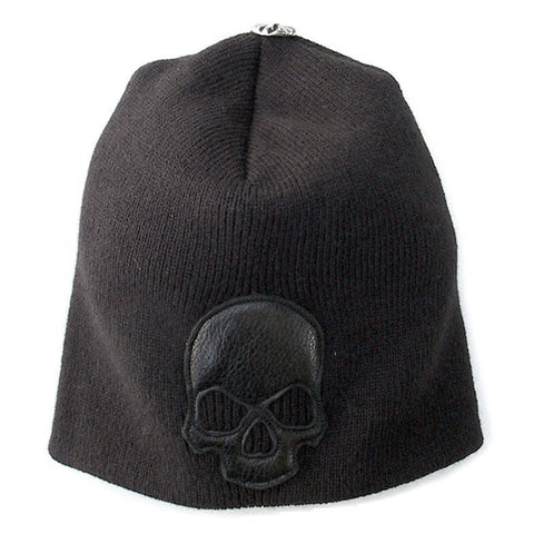 Beanie with Leather Skull