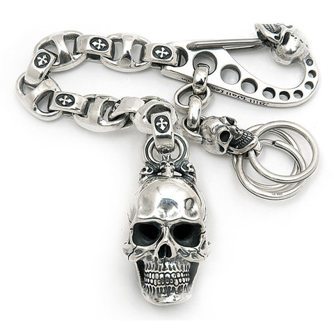 "Giant Skull with ""C"" Cross Links Key Chain"