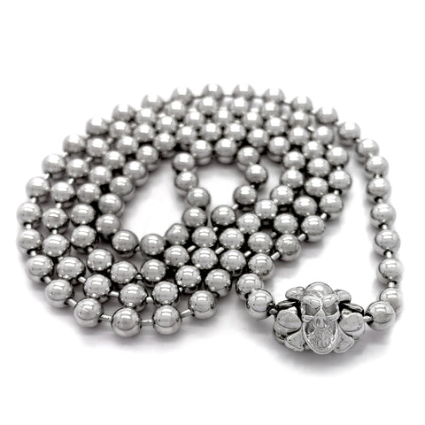 Rhodium Plated Medium Ball Chain Necklace