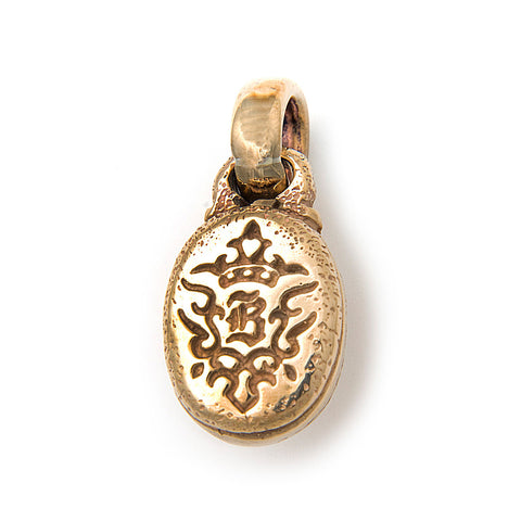 Bronze Oval B Crown Pendant