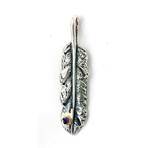 Graffiti Feather Medium with Stone and Gold Overlay Pendant