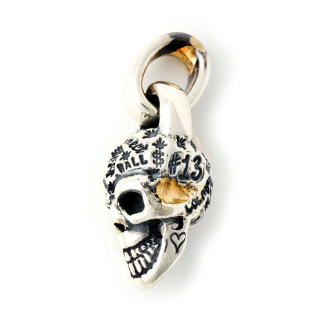Graffiti Skull with Gold Overlay Pendant