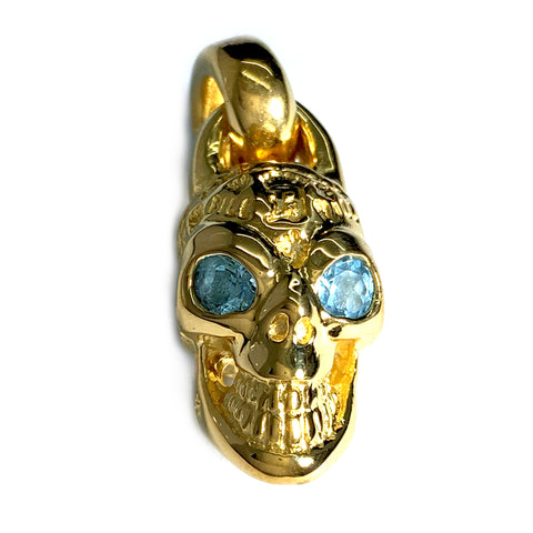 Custom Gold Plated Graffiti Skull Pendant with Stone Eyes