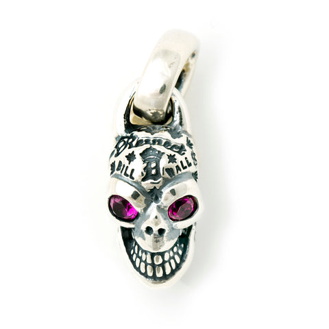 Graffiti Skull Pendant with Rhodolite or Blue Topaz Eyes