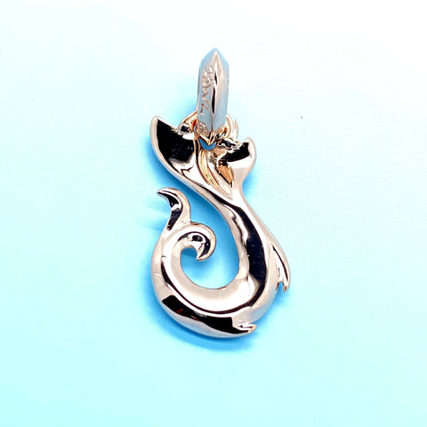 Whale's Tail Fish Hook (small) 18k Rose Gold Plating