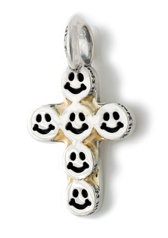 Happy Face Cross Pendant with 18k(y) Gold Overlay