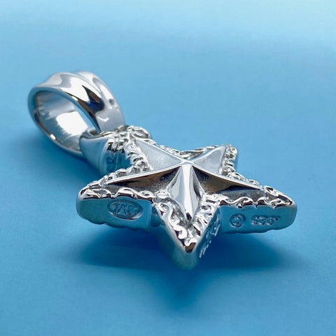 Double Wave/Star Pendant with Rhodium Plating