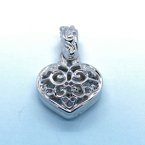 Double Tribal Heart Pendant with Rhodium Plating