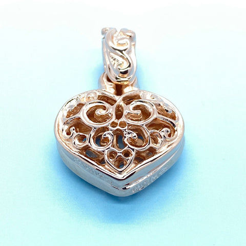 Double Tribal Heart Pendant with 18k Rose Gold Plating