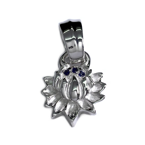 Custom Rhodium Plated Lotus Blossom Pendant