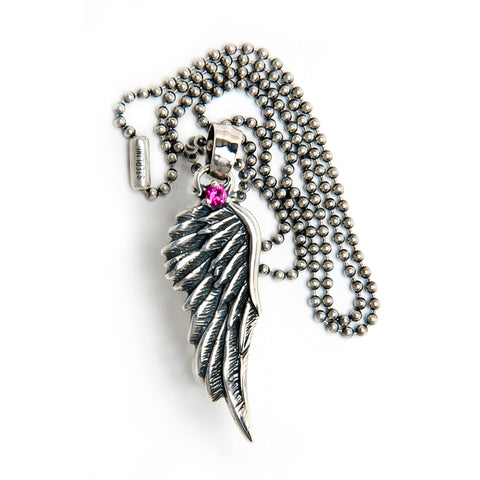 Wing Pendant with Gemstone and Chain