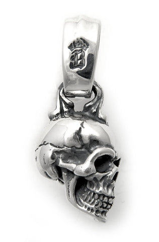 "Side Skull with ""B"" Crown Bale Pendant"