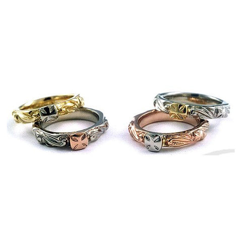 18K Contrast Cross Ring