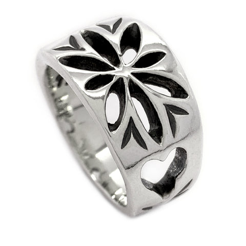 Silver Compass Rose Ring