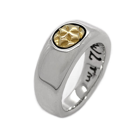 Smooth C-Cross Ring with 18K Gold Cross