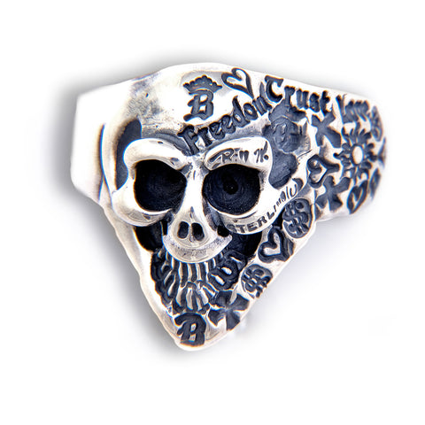 Small Half Graffiti Stamped Good Luck Skull Ring