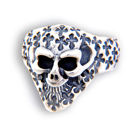 Small Graffiti Good Luck Skull Ring with Cross Stamps