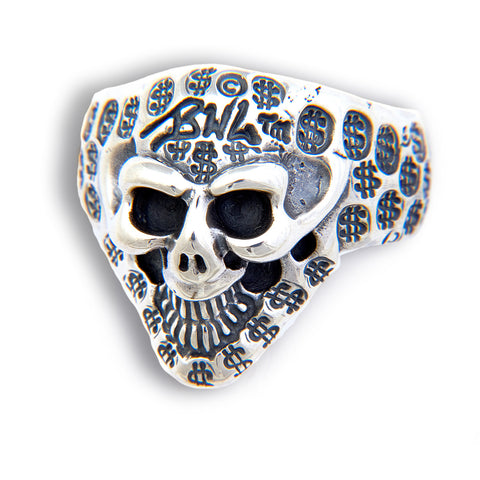Small Graffiti Good Luck Skull Ring with $ Stamps