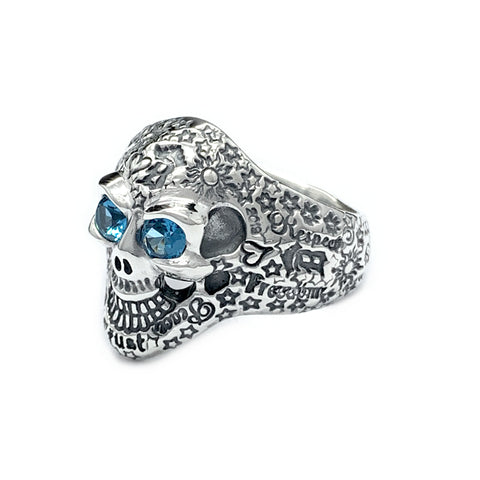 35th Anniversary Graffiti Small Good Luck Skull Ring with Stone Eyes