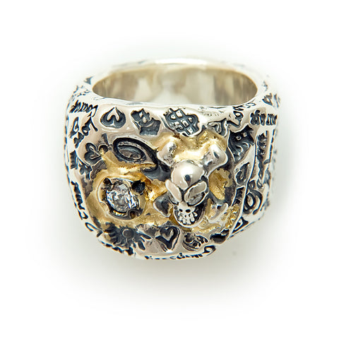 Graffiti Pirate Ring with CZ Gemstone