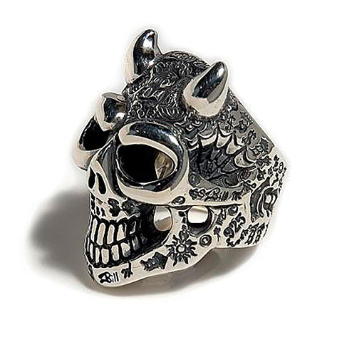 Graffiti Master Skull Ring with Horns