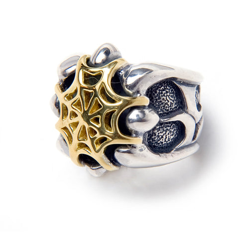 Tribal Band with 18k Gold Web Ring