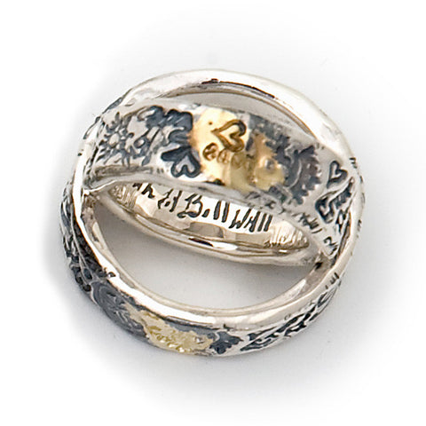Passion Graffiti Ring Pair with 18K Solder and Love Stamp