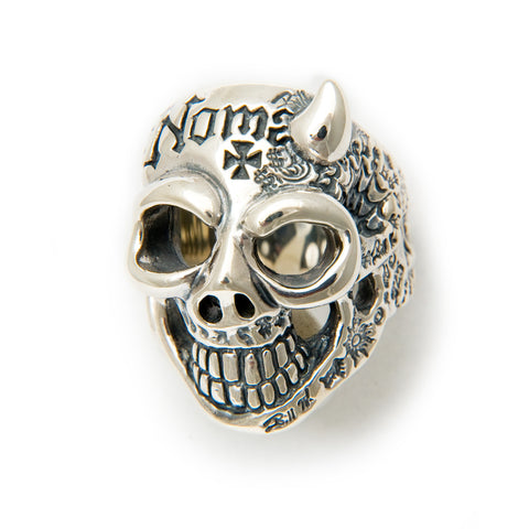 50/50 Master Skull Ring with Left Horn