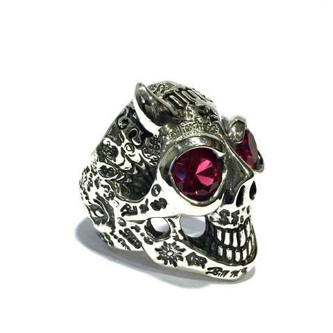 50/50 Master Skull Ring with Left Horn with Stones
