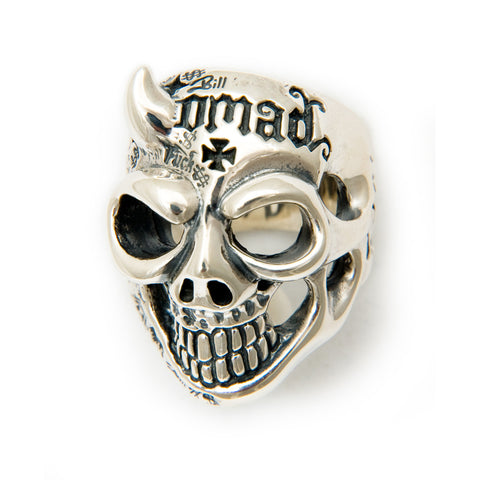 50/50 Master Skull Ring with Right Horn