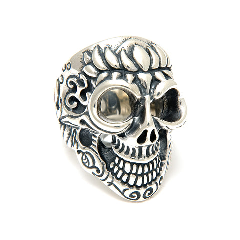 Lotus Blossom Graffiti Master Skull Ring