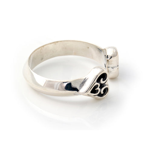 Double Tribal Heart Ring - Small