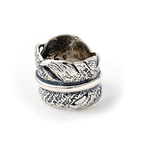 "Graffiti Feather Ring Open ""Large"""