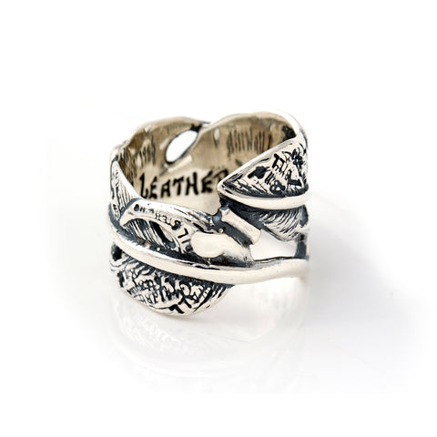 "Graffiti Feather Ring Open ""Medium"""