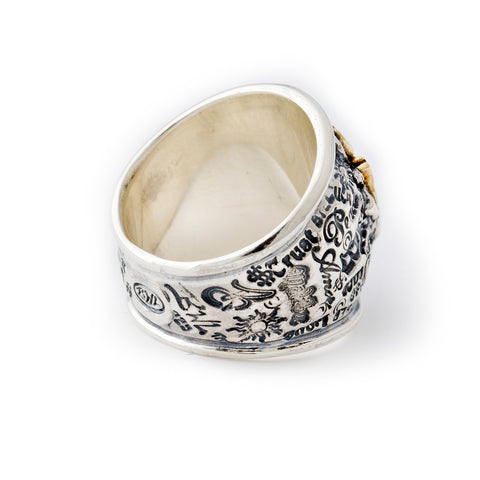 "Graffiti Dome Ring with ""LUCKY"" Top"