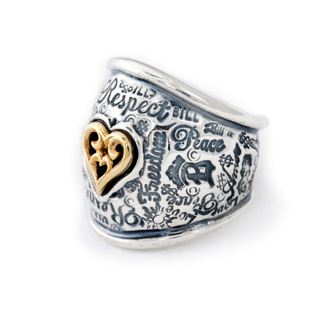 "Graffiti Dome Ring with ""SMALL HEART"" Top"
