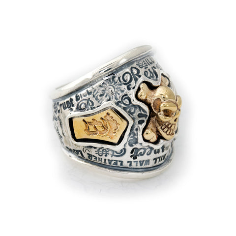 "Graffiti Dome Ring with ""SKULL & CROSSBONES"" Top ""B CROWN"" Tag"